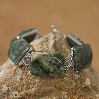 Jade link bracelet, 'Maya Princess' - Jade link bracelet