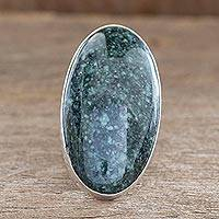 Jade cocktail ring, 'Maya Virtues' - Jade cocktail ring