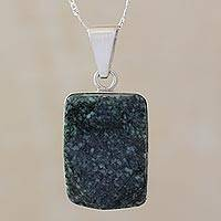 Jade pendant necklace, 'Maya Empress' - Jade and Sterling Silver Pendant from Guatemala