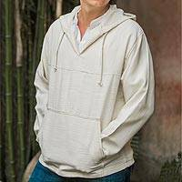 Men's cotton hoodie pullover, 'Grand Nature'