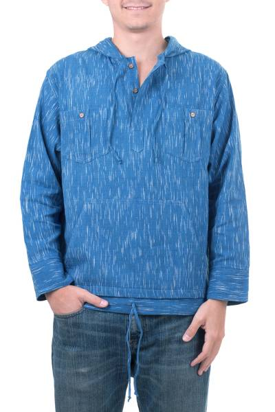 Men's cotton hoodie pullover, 'Blue Moon' - Men's Unique Cotton Hoodie Pullover