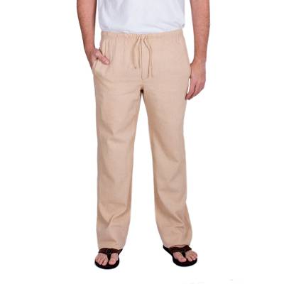 Men's cotton pants, 'Ajkik Vicuna' - Men's Fair Trade Cotton Caual Pants