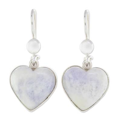 Jade Heart Earrings Lilac Love Immemorial Lavender Shaped Sterling Silver