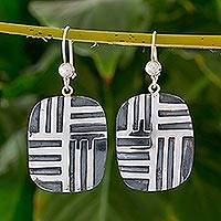 Sterling silver dangle earrings, 'Love's Labyrinth' - Modern Sterling Silver Dangle Earrings