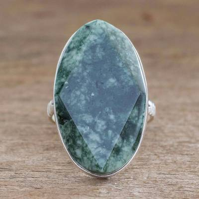 Jade cocktail ring, 'Dark Green Maya Mystique' - Fair Trade Sterling Silver Jade Cocktail Ring