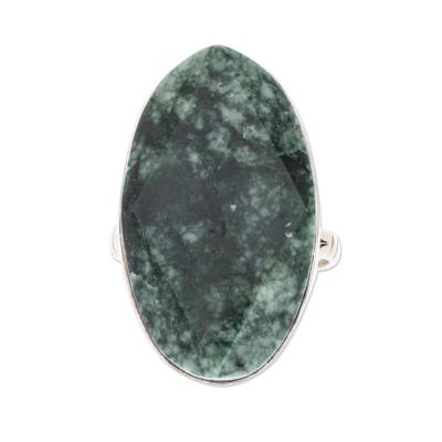 Jade cocktail ring, 'Dark Green Maya Mystique' - Fair Trade Sterling Silver Jade Cocktail Ring