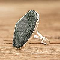 Jade cocktail ring, 'Light Green Maya Mystique'