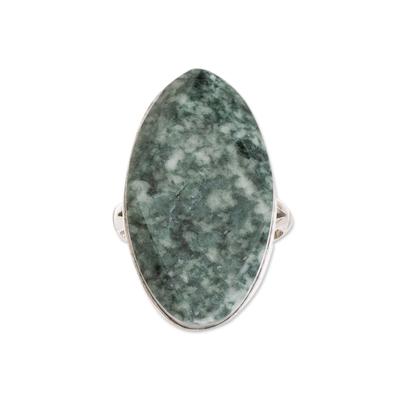 Jade cocktail ring, 'Light Green Maya Mystique' - Handcrafted Sterling Silver Jade Cocktail Ring