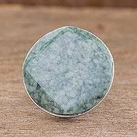 Jade cocktail ring, 'Love's Cycles in Light Green' - Jade cocktail ring