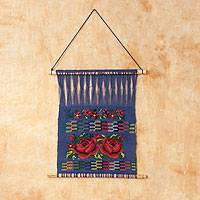 Cotton wall hanging, 'Red Roses' - Handcrafted Floral Cotton Wall Hanging Art