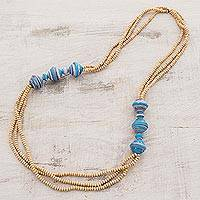 Wood and recycled paper beaded necklace, 'Ana's Colors' - Wood and recycled paper beaded necklace