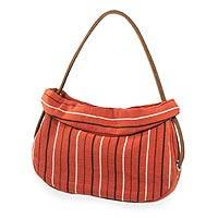 Leather accent cotton shoulder bag, 'Terracotta Trends' - Striped Cotton Shoulder Bag from Guatemala