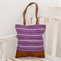 Leather accent cotton shoulder bag, 'Tradition in Lilac' - Fair Trade Cotton and Leather Totebag from Guatemala
