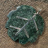 Jade pendant, 'Maya Poplar Leaf' - Jade pendant