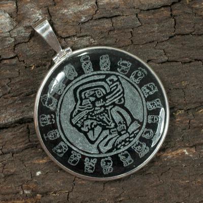 Jade pendant, 'Maya Calendar' - Sterling Silver Jade Pendant from Central America