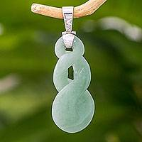 Jade pendant, 'Pale Tornado' - Handcrafted Light Green Jade Pendant