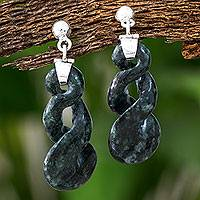 Jade dangle earrings, 'Green Tornado' - Artisan Made Green Jade Dangle Earrings
