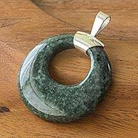 Jade pendant, 'Endless Love' - Silver and Jade Pendant