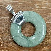 Jade pendant, 'Endless Melody' - Light Green Jade Pendant