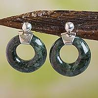 Jade dangle earrings, 'Endless Love'