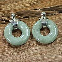 Jade dangle earrings, 'Endless Melody' - Fair Trade Sterling Silver and Jade Earrings from Guatemala