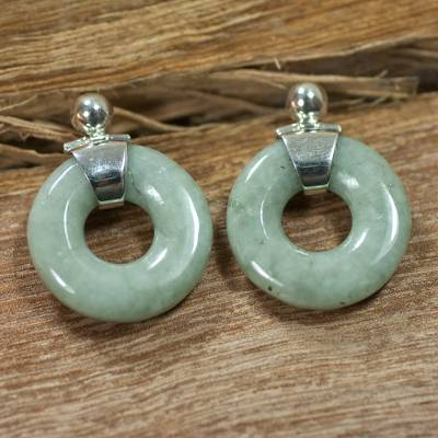 Jade dangle earrings, 'Endless Melody' - Modern Light Green Jade Earrings