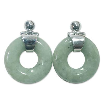 Jade dangle earrings, 'Endless Melody' - Modern Light Green Jade Earrings