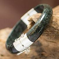 Jade bangle bracelet, 'Verdant Moon' - Artisan Crafted Maya Jade and Silver Bangle Bracelet