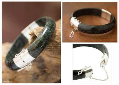 Jade bangle bracelet, 'Verdant Moon' - Artisan Crafted Maya Jade and Silver Bangle Bracelet