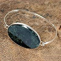Jade bangle bracelet, 'Modernity' - Modern Sterling Silver Bangle Jade Bracelet