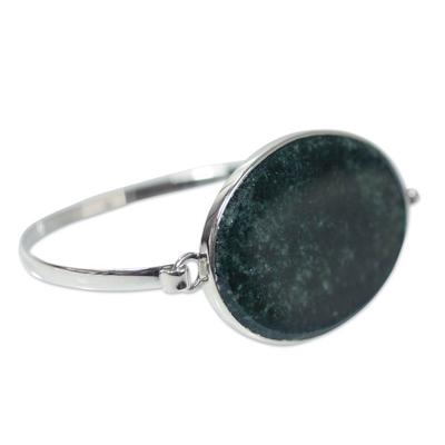 Jade bangle bracelet, 'Modernity' - Modern Sterling Silver Bangle Jade Bracelet