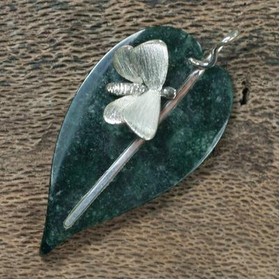 Jade pendant, 'Maya Butterfly' - Unique Central American Jade Pendant
