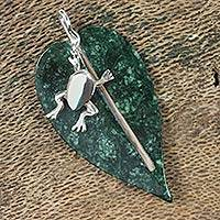 Jade pendant, 'Maya Frog' - Unique Jade Pendant with Sterling Silver