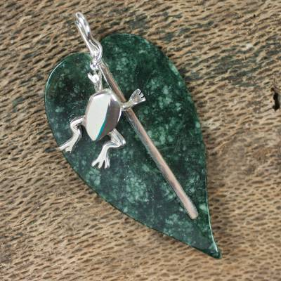 Jade pendant, 'Maya Frog' - Unique Jade Pendant with Sterling Silver
