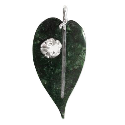 Jade pendant, 'Maya Ladybug' - Sterling Silver and Jade Pendant