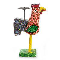 Pinewood and iron candleholder, 'Speckled Orange Hen' - Central American Wood and Iron Bird Candle Holder