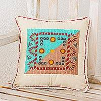 Cotton cushion cover, 'My Tradition' - Artisan Crafted Folk Art Cotton Embroidered Cushion Cover