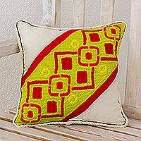 Cotton cushion cover, 'Faith Art' - Cotton cushion cover
