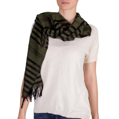 Cotton scarf, 'Jade Totonicapan Diamonds' - Cotton scarf