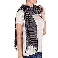 Cotton scarf, 'Gray Totonicapan Diamonds' - Cotton scarf