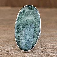 Jade cocktail ring, 'Sixth Star' - Sterling Silver Jade Cocktail Ring