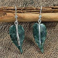 Jade earrings, 'Maya Anthurium Leaf'