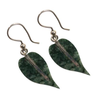 Jade earrings, 'Maya Anthurium Leaf' - Jade earrings