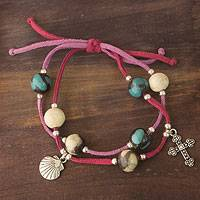 Leather and ceramic charm bracelet, 'Purple Sihua'