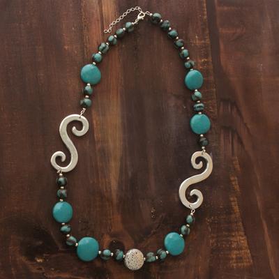 Ceramic beaded necklace, 'Azacualpa Life' - Ceramic beaded necklace