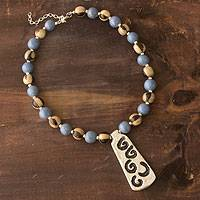Ceramic beaded necklace, 'Azacualpa Blue' - Ceramic beaded necklace
