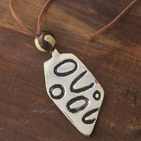 Pewter pendant necklace, 'Quelapa Lance' - Pewter pendant necklace