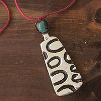 Pewter pendant necklace, 'Quelapa Ax' - Pewter pendant necklace