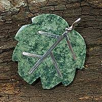Jade pendant, 'Maya Poplar Leaf in Light Green' - Jade Pendant Artisan Crafted Jewelry