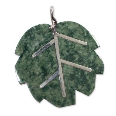 Jade pendant, 'Maya Poplar Leaf in Light Green' - Jade Pendant Artisan Crafted Jewelry